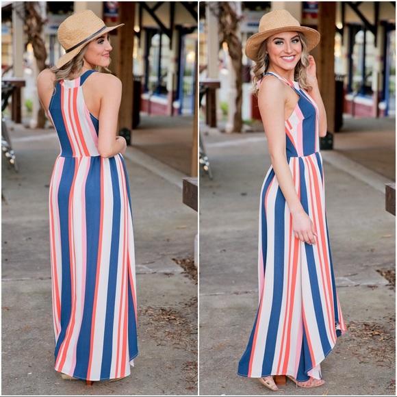 Infinity Raine Dresses & Skirts - ✨LAST TWO✨Striped hi low maxi dress